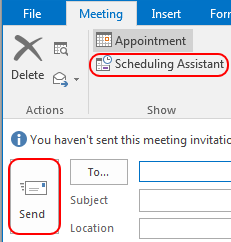 Send, scheduling assistant