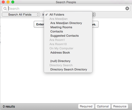 address book search screen