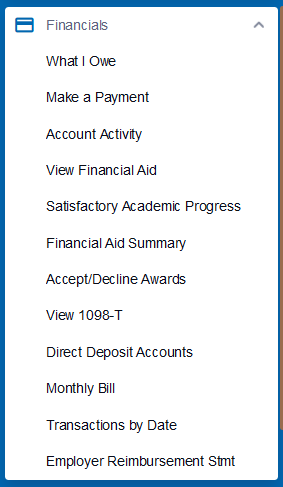 Financials Menu - Full Access Only