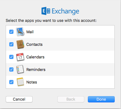 List of applications available to sync Outlook Exchange account with