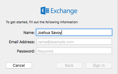 "Prompted fields are ""Name,"" ""Email,"" and ""Password"""