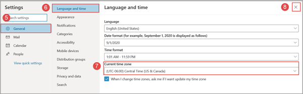 General settings page in Office 365 which includes options for language and timezone