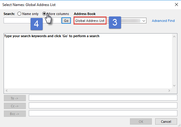 Outlook search address book