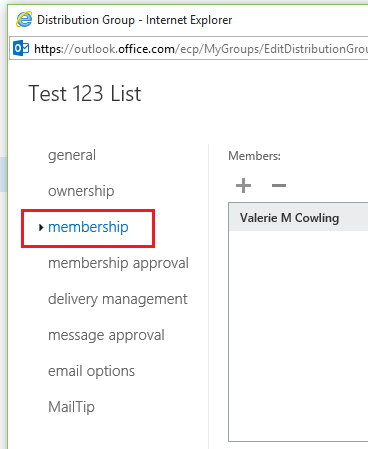 Select membership from the left pane