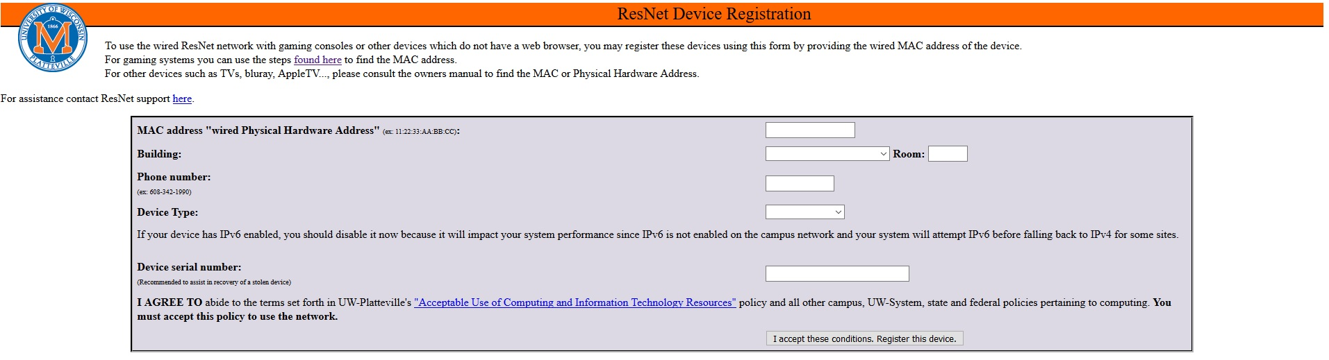 device registration webpage