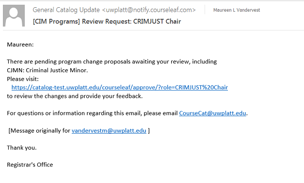 Email Notification from CIM