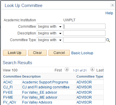 Committee Search Window
