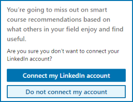 LinkedIn account confirmation window