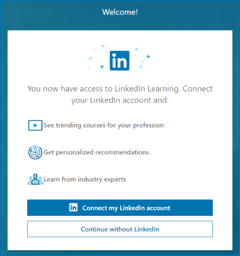 LinkedIn Welcome Page