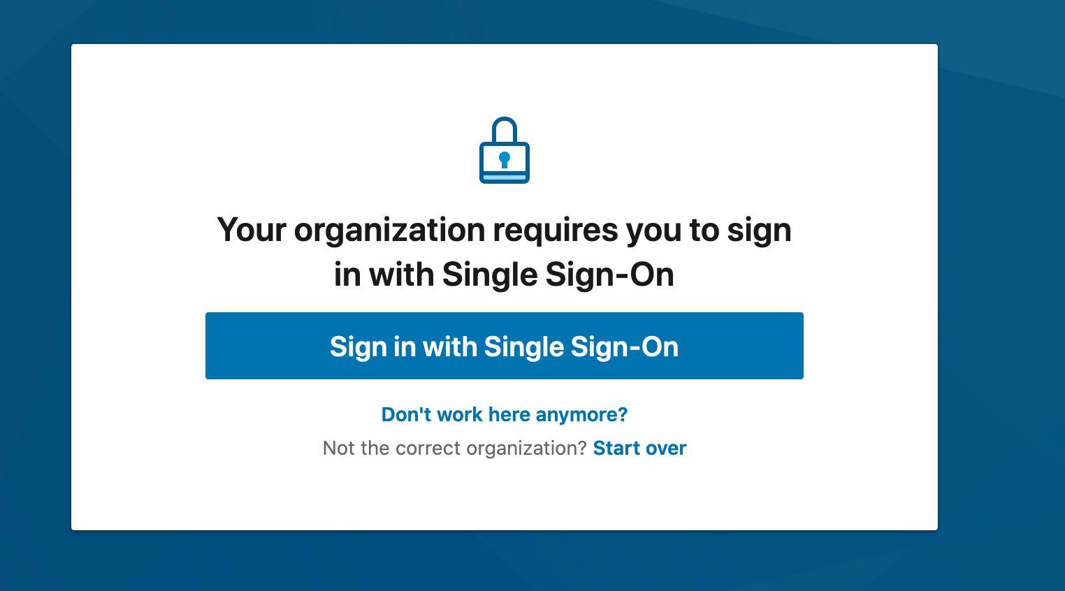 Sign in with Single Sign-On