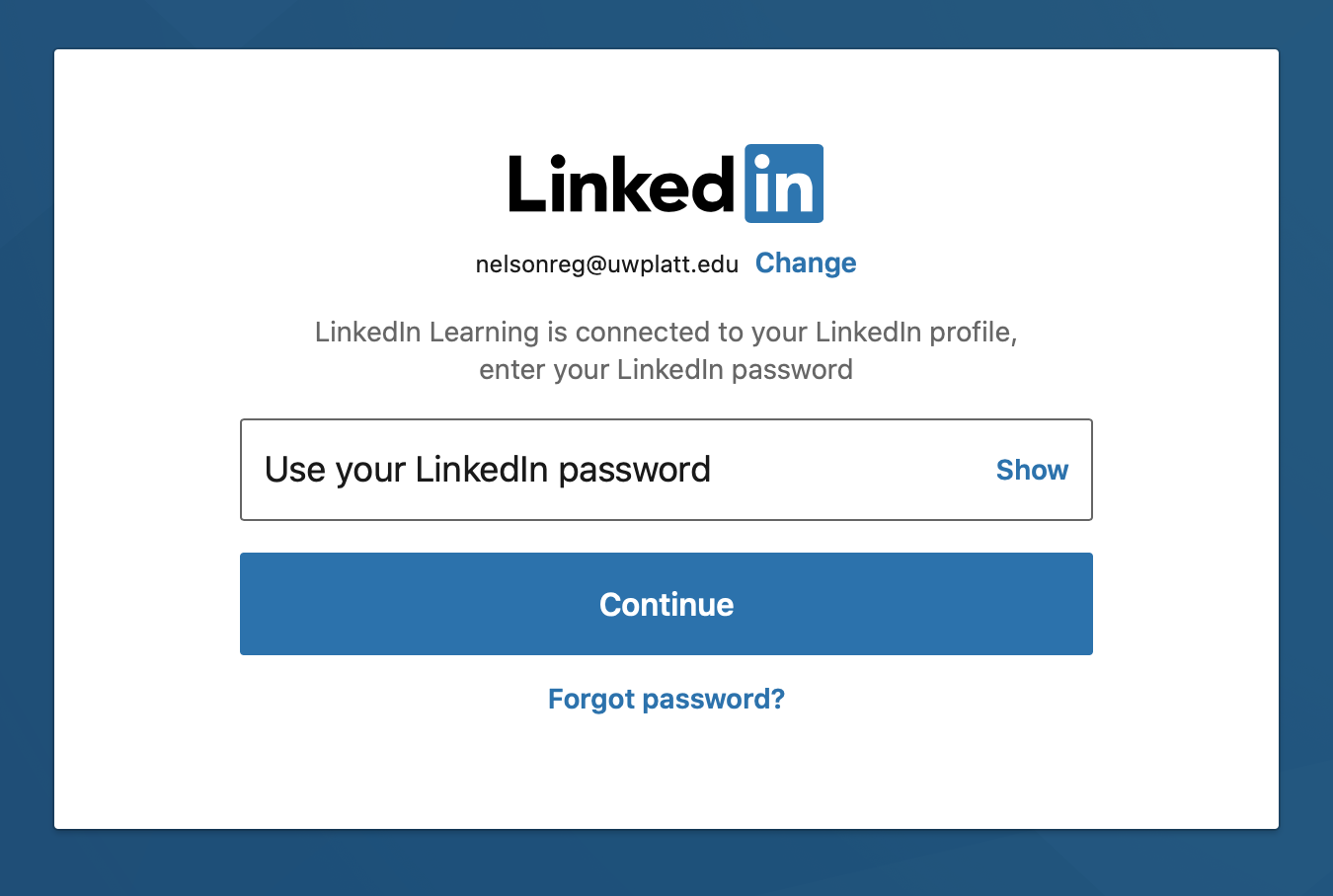 Enter LinkedIn password