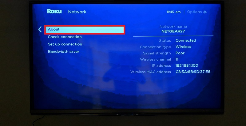 Roku network settings menu