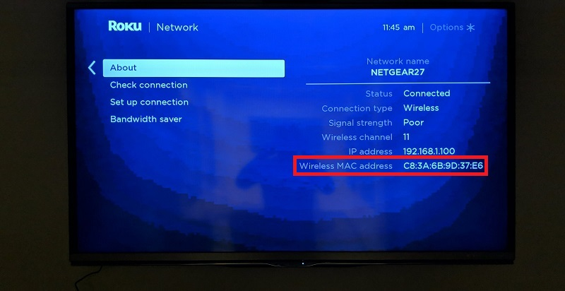 Roku wireless mac address
