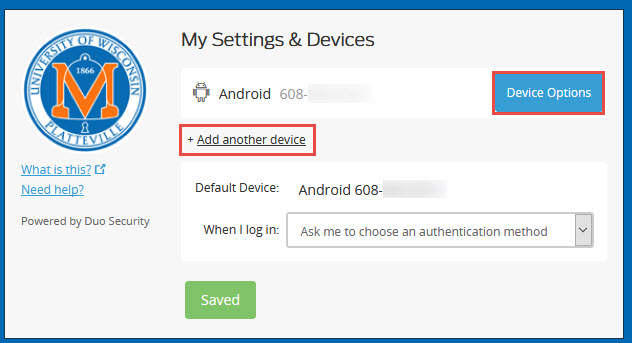 Duo My Settings and Devices page