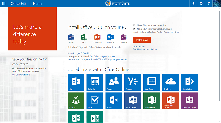 The Landing Page of Office 365