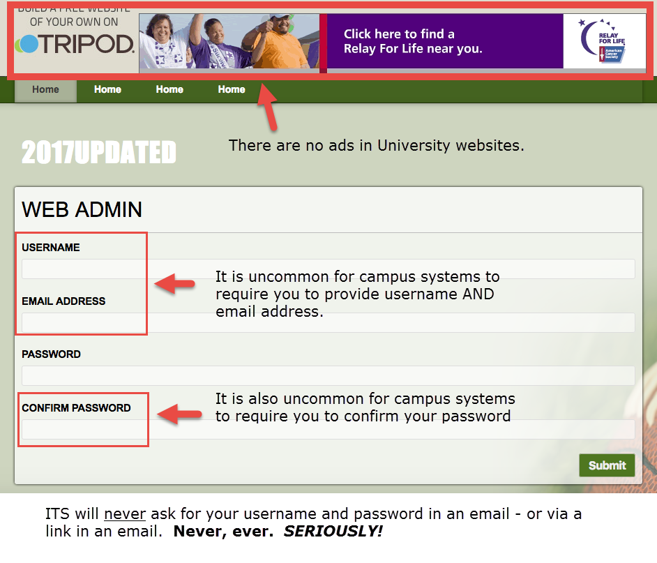 Phish attempt login page 03.14.17