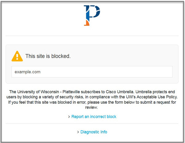 Screenshot of notification that a website has been blocked by Cisco Umbrella