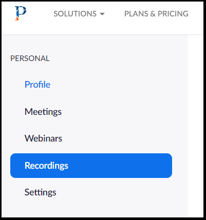 recordings tab