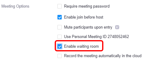 Enable Waiting room option